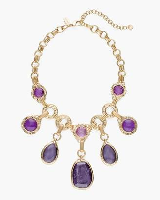 Short Purple Stone Bib Necklace