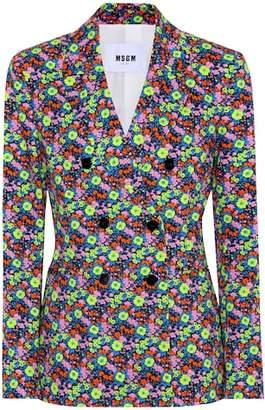 MSGM Floral-printed cotton blazer
