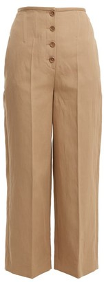 Joseph High Rise Wide Leg Cotton Blend Trousers - Womens - Beige