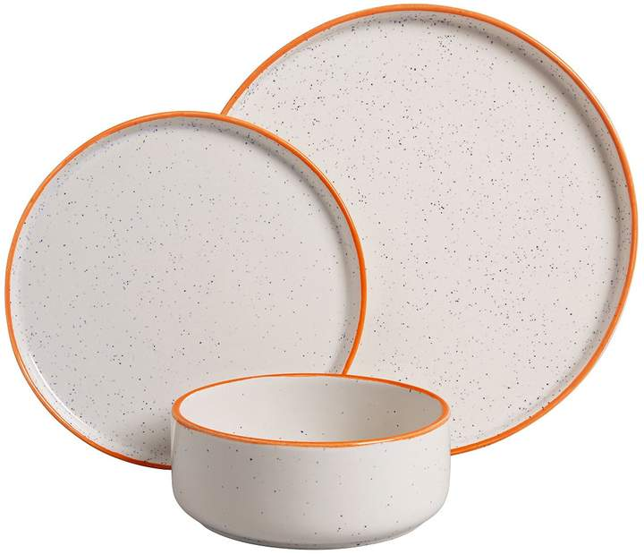 Nancy White speckled with orange rim 12 piece dinner set