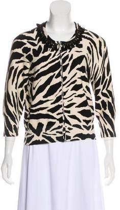 Tracy Reese Embellished Zebra Print Cardigan