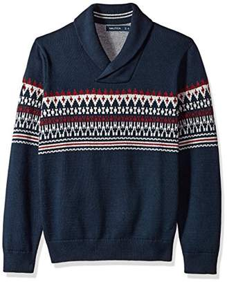 Nautica Men's Standard Long Sleeve Crew Neck Fairisle Sweater