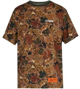 Heron Preston Camouflage Print Cotton Shirt - Mens - Khaki