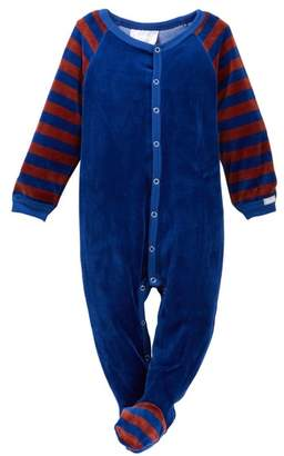 Coccoli Velour Striped Sleeve Footie (Baby)