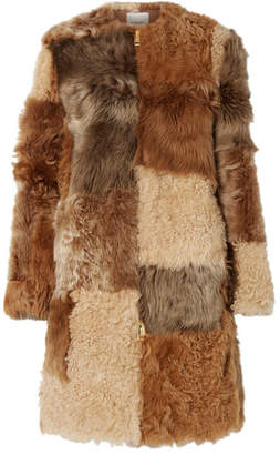 Burberry Patchwork Shearling Coat - Beige