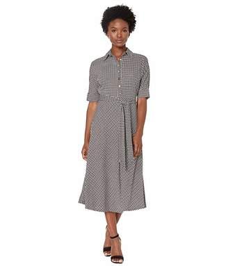 Lauren Ralph Lauren Petite Houndstooth Matte Jersey Shirtdress