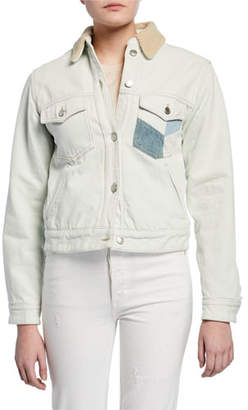 Etoile Isabel Marant Lindy Patched Denim Jacket with Sherpa Collar