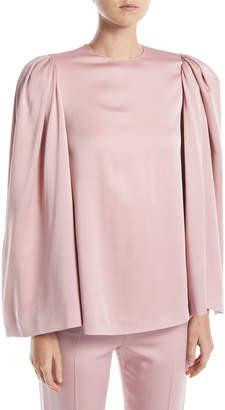 Valentino Long Bell-Sleeve Jewel-Neck Cady Blouse
