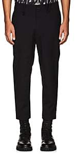 Oamc Men's Stretch-Wool Ankle-Zip Trousers-Navy Size 36