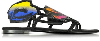 Pierre Hardy Multicolor Leather and Suede Poppy Flat Sandals