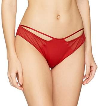 Wonderbra Women's Luxe Collection Brazilian Knicker, (Dark Red), (Size:Large)