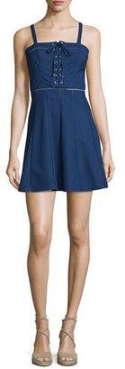 Parker Athena Sleeveless Lace-Up Dress, Stealth $288 thestylecure.com