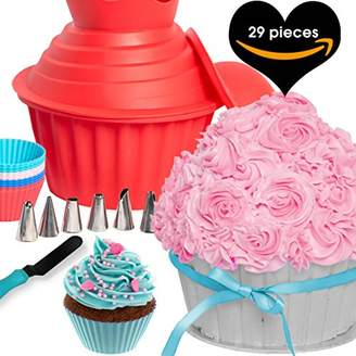 Smash Wear 29pcs Giant Cupcake Pan Silicone Molds - Extra Huge Oversized Bakeware Cup Mold. Large Cake Big Jumbo Muffin Baking Decorating Supplies Kit Accessories Frosting Icing Piping Bags Tips Cups