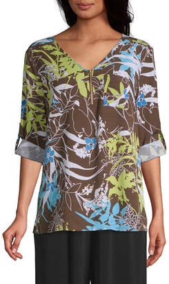 East Fifth east 5th Womens V Neck 3/4 Sleeve Blouse