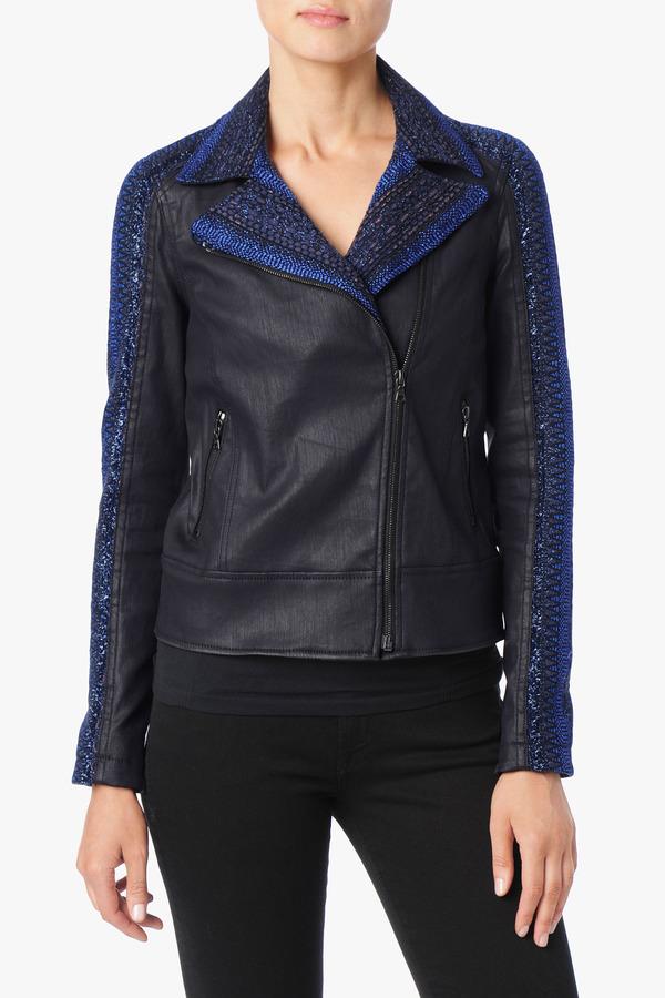 7 For All Mankind Malhia Kent: Moto Jacket In Blue Metallic Stripe