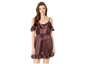 BB Dakota Got To Be Real Textured Satin Ruffle Off Shoulder Dress