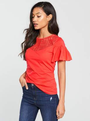 Very Lace Angel Sleeve Top - Coral