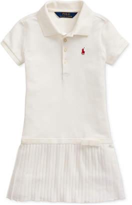 Polo Ralph Lauren Little Girls Pleated Stretch Mesh Polo Dress