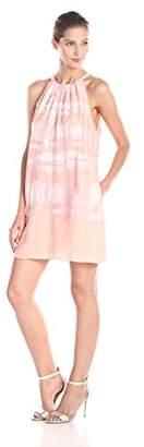 Halston Women's Sleeveless Printed Dress with Sequin Panel