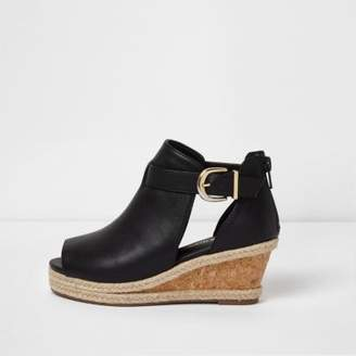 River Island Girls black espadrille wedge shoe boots