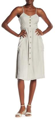 GOOD LUCK GEM Button Front Midi Dress