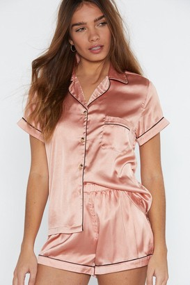 1186fcde08f9a Nasty Gal Satin Chilling Out Top and Shorts Pajama Set
