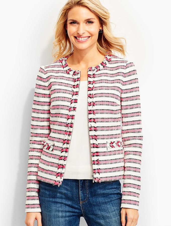 Fringed-Edge Tweed Jacket-Stripes