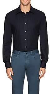 Luciano Barbera Men's Plain-Weave Cotton Shirt - Navy