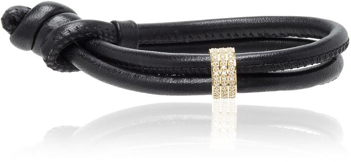 MizukiMizuki Black Single Wrap Bracelet with Diamond Slider