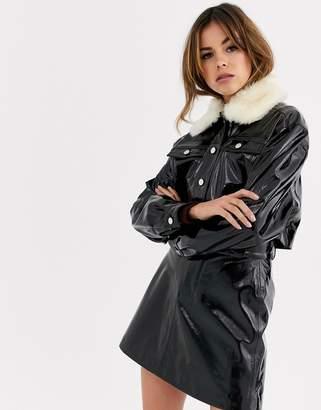 Capulet belle cropped PU trucker jacket