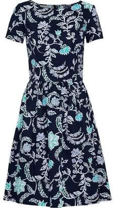 Oscar de la Renta Pleated Printed Stretch Cotton-Poplin Dress