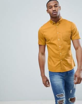Asos Design Stretch Slim Denim Shirt In Mustard