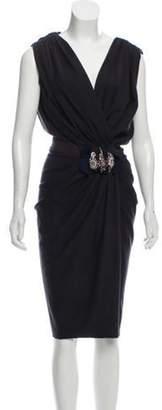 Reem Acra Wool Midi Dress brown Wool Midi Dress