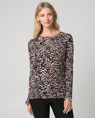 Le Château Leopard Print Cut & Sew Knit Top