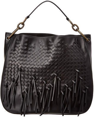 Bottega Veneta Medium Loop Fringe Intrecciato Leather Hobo Bag