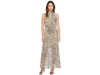 Calvin Klein Printed Maxi with Tie Belt Women's Dress