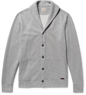 Faherty Shawl-Collar Mélange Fleece-Back Cotton-Blend Cardigan