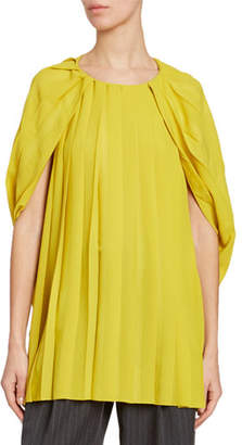 Dries Van Noten Pleated Cape Blouse
