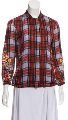 Preen Line Embroidered Plaid Bomber Jacket