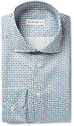Etro Blue Slim-Fit Micro Paisley-Print Cotton-Blend Shirt - Men - Blue