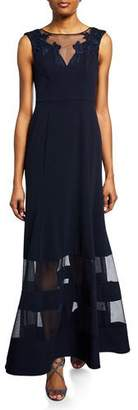 Aidan Mattox Bateau-Neck Sleeveless A-Line Illusion Gown w/ Mesh Insets