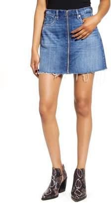 Blank NYC Blanknyc Zip Front Raw Hem Denim Miniskirt