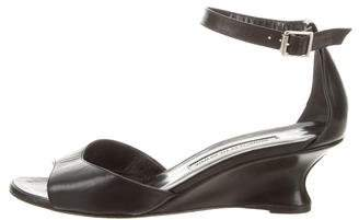 Manolo Blahnik Low-Heel Wedge Sandals
