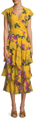 Etro Cap-Sleeve Floral-Print Silk Georgette Faux-Wrap Tiered Ruffled Dress