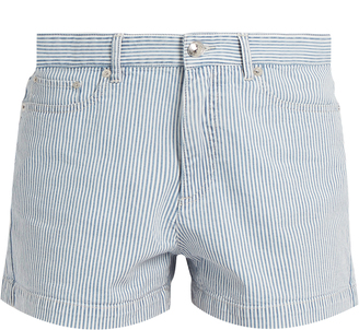 A.P.C. Striped stretch-denim shorts $114 thestylecure.com