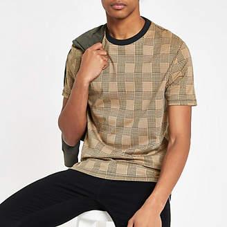 River Island Mens Brown check slim fit T-shirt