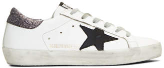 Golden Goose SSENSE Exclusive White and Silver Glitter Superstar Sneakers