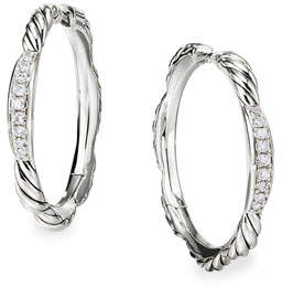 David Yurman Tides Diamond & Cable Hoop Earrings