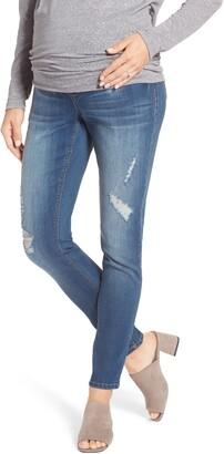 1822 Denim Destructed Maternity Skinny Jeans