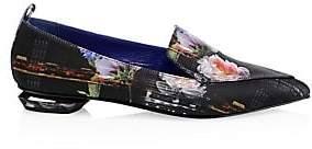 Nicholas Kirkwood Women's Beya Satin Floral Beveled Heel Loafers